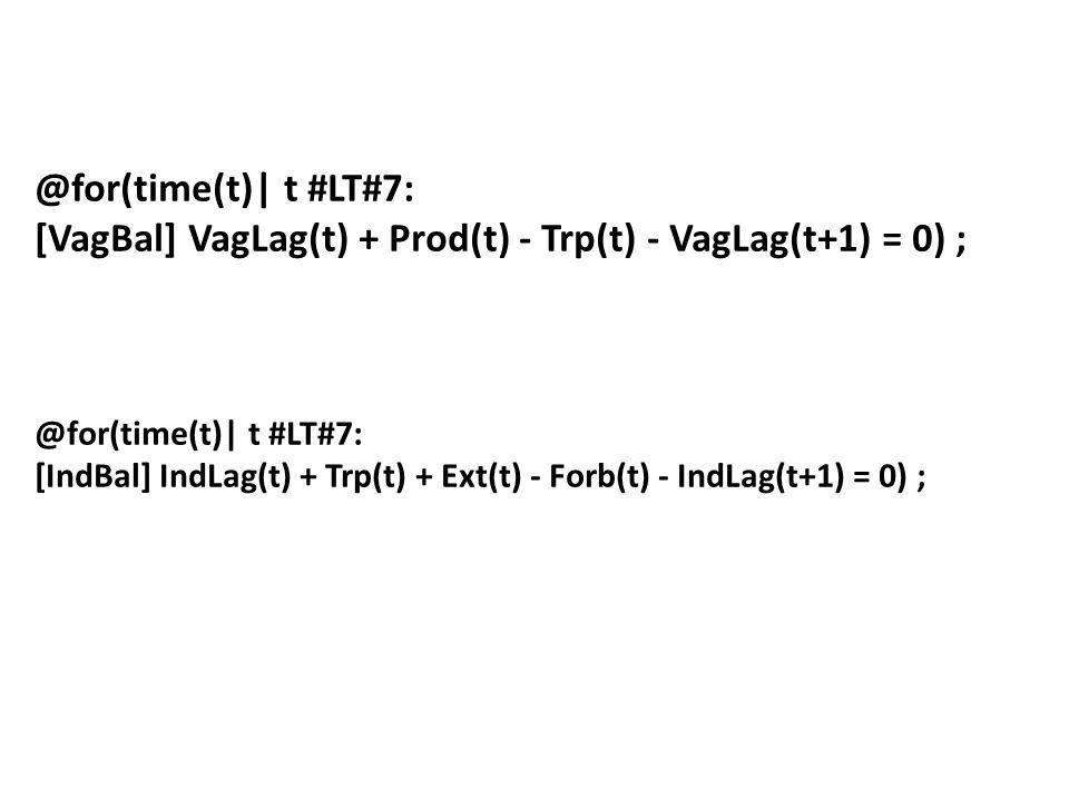 [VagBal] VagLag(t) + Prod(t) - Trp(t) - VagLag(t+1) = 0) ;